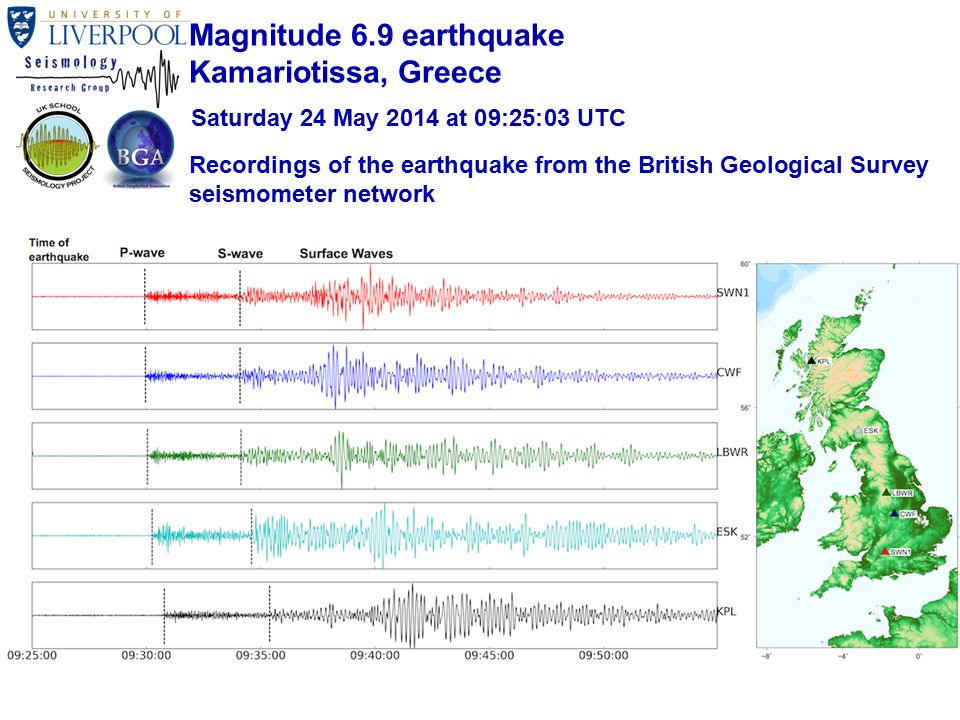 Recordings of the earthquake from the British Geological Survey seismometer network Magnitude 6.9 earthquake Kamariotissa, Greece Saturday 24 May 2014 at 09:25:03 UTC