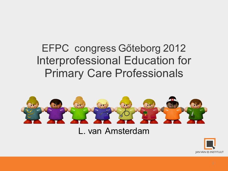 Interprofessional Education (IPE) 2 Developing EFPC Position Paper Coordination by Jan van Es Institute