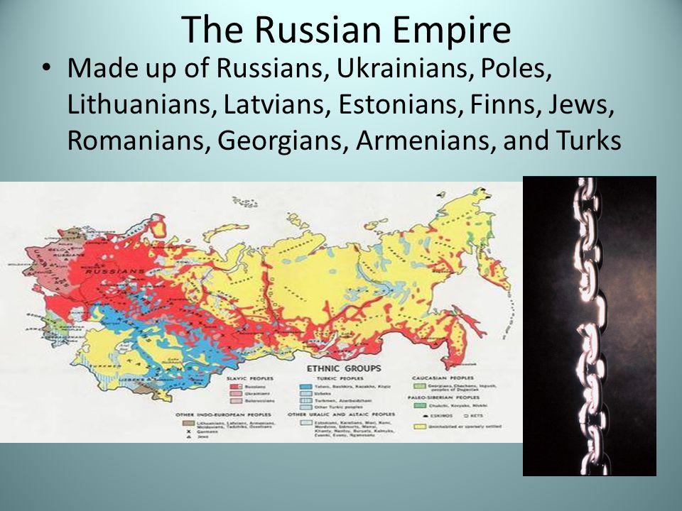 The Russian Empire Made up of Russians, Ukrainians, Poles, Lithuanians, Latvians, Estonians, Finns, Jews, Romanians, Georgians, Armenians, and Turks