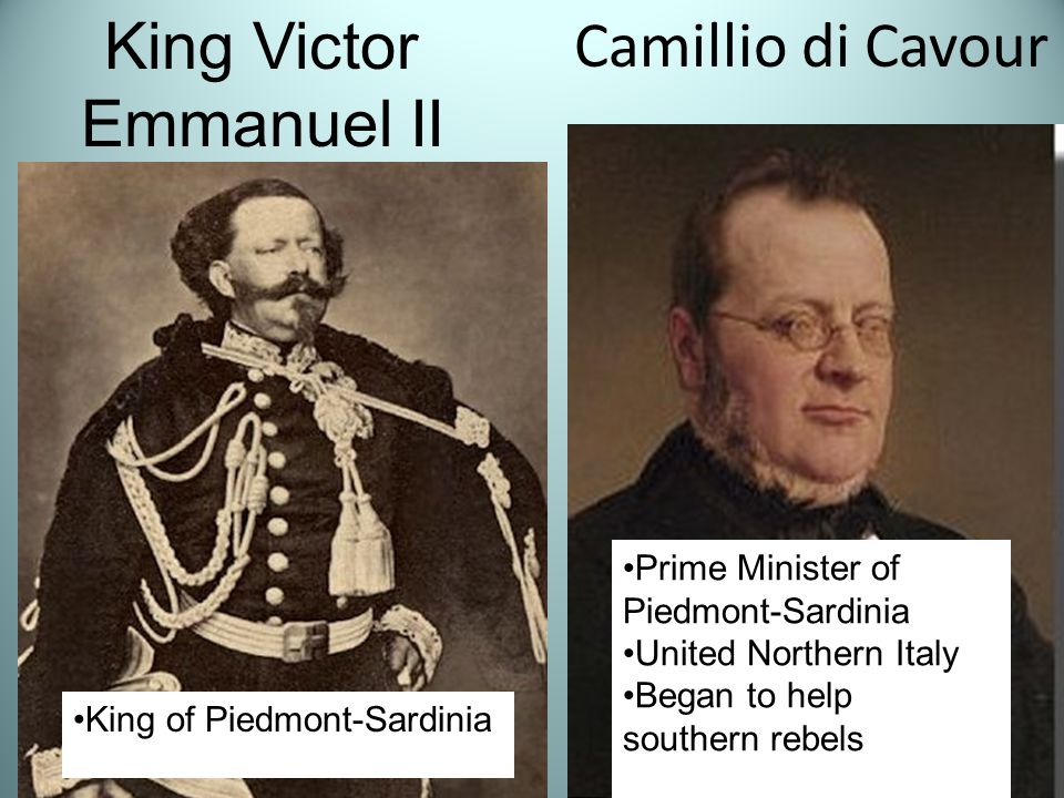 Camillio di Cavour King Victor Emmanuel II King of Piedmont-Sardinia Prime Minister of Piedmont-Sardinia United Northern Italy Began to help southern rebels