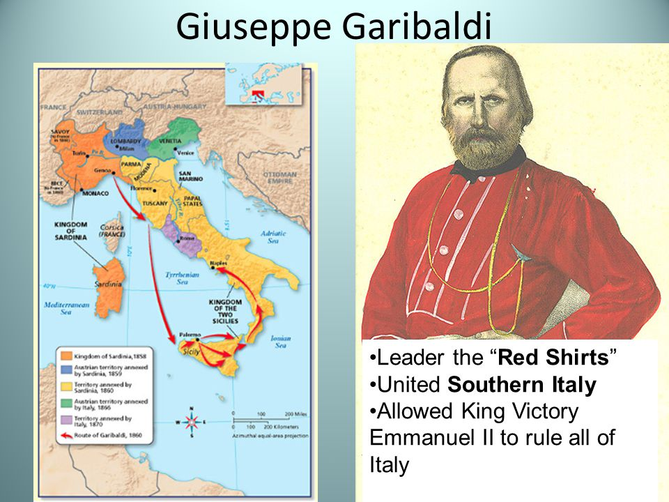 Giuseppe Garibaldi Leader the Red Shirts United Southern Italy Allowed King Victory Emmanuel II to rule all of Italy