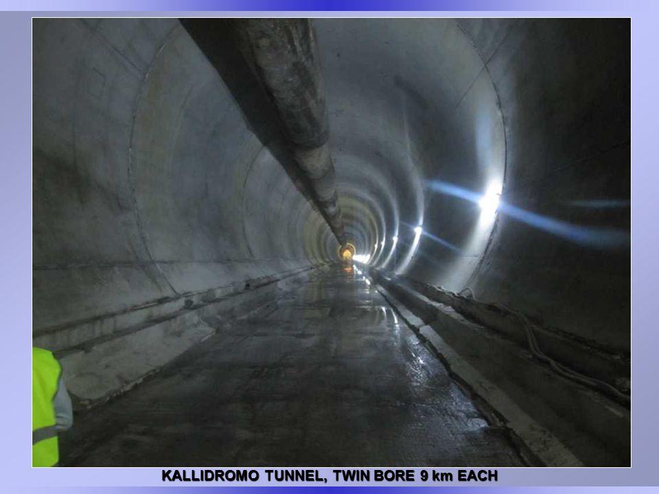 KALLIDROMO TUNNEL, TWIN BORE 9 km EACH