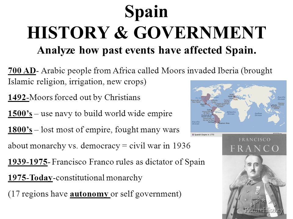 Spain HISTORY & GOVERNMENT Analyze how past events have affected Spain. 700 AD- Arabic people from Africa called Moors invaded Iberia (brought Islamic
