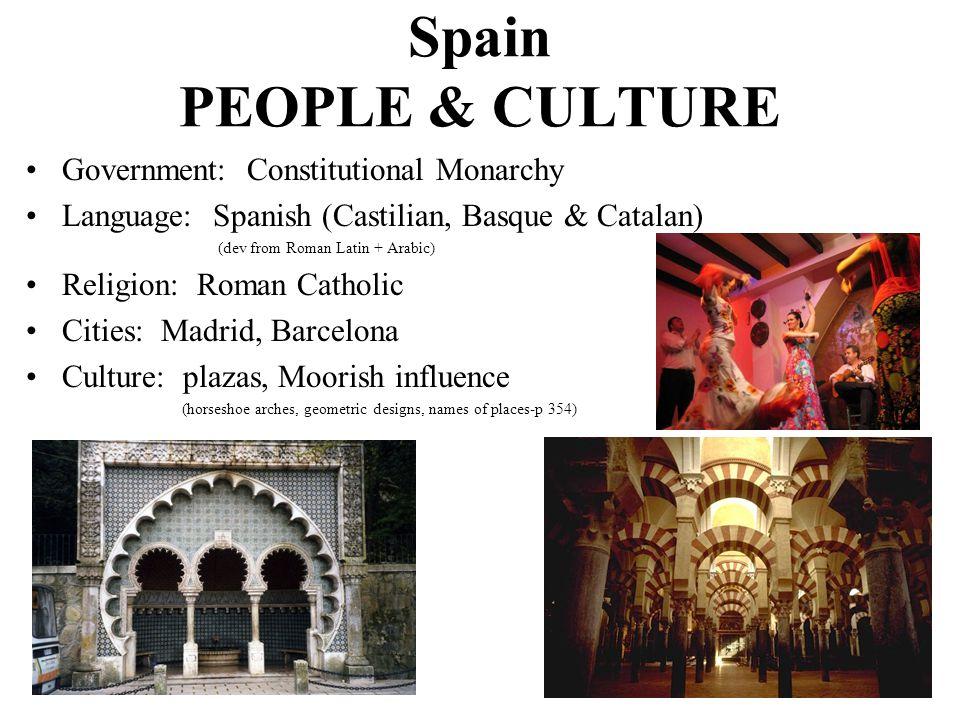 Government: Constitutional Monarchy Language: Spanish (Castilian, Basque & Catalan) (dev from Roman Latin + Arabic) Religion: Roman Catholic Cities: M