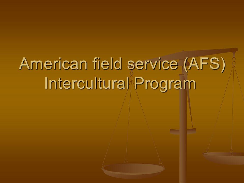 American field service (AFS) Intercultural Program
