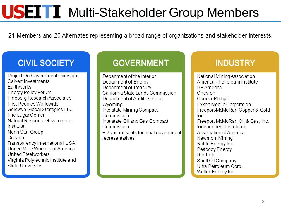 Multi-Stakeholder Group Members 21 Members and 20 Alternates representing a broad range of organizations and stakeholder interests. 8 Department of th