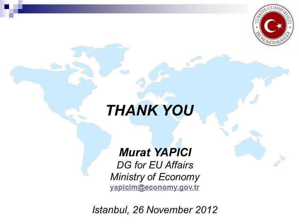THANK YOU Murat YAPICI DG for EU Affairs Ministry of Economy yapicim@economy.gov.tr Istanbul, 26 November 2012
