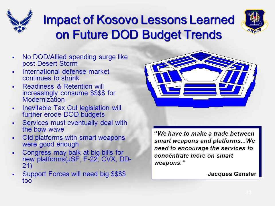 33 Impact of Kosovo Lessons Learned on Future DOD Budget Trends  No DOD/Allied spending surge like post Desert Storm  International defense market c