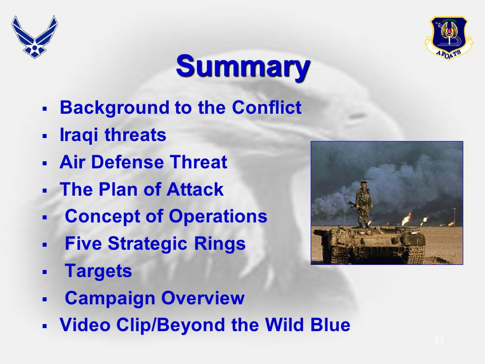 37 Summary  Background to the Conflict  Iraqi threats  Air Defense Threat  The Plan of Attack  Concept of Operations  Five Strategic Rings  Tar