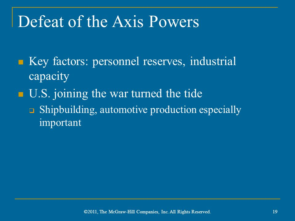 Defeat of the Axis Powers Key factors: personnel reserves, industrial capacity U.S.