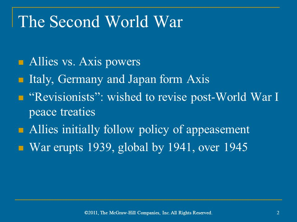 The Second World War Allies vs.