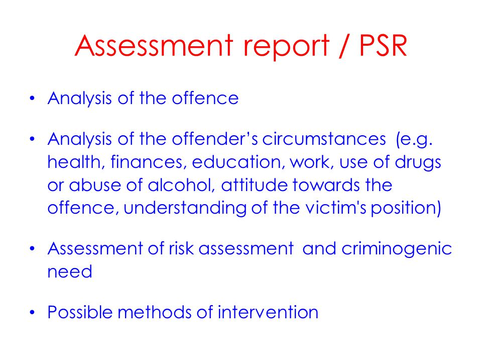 Supervision The offender s needs and motivation to change Risk / RNR prominent in general approach Importance of negotiating the initial program with the offender Regard to standards and procedures for ensuring the offender meets obligations Methods include home visit, 'inter-action with the working place', cooperation with NGOs.