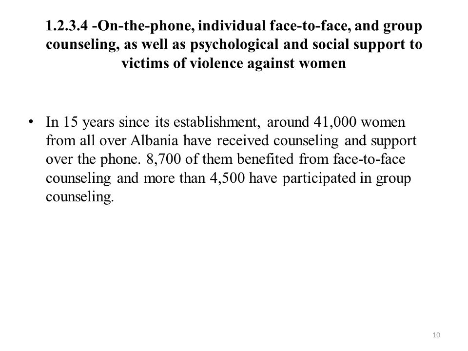 1.2.3.4 -On-the-phone, individual face-to-face, and group counseling, as well as psychological and social support to victims of violence against women In 15 years since its establishment, around 41,000 women from all over Albania have received counseling and support over the phone.