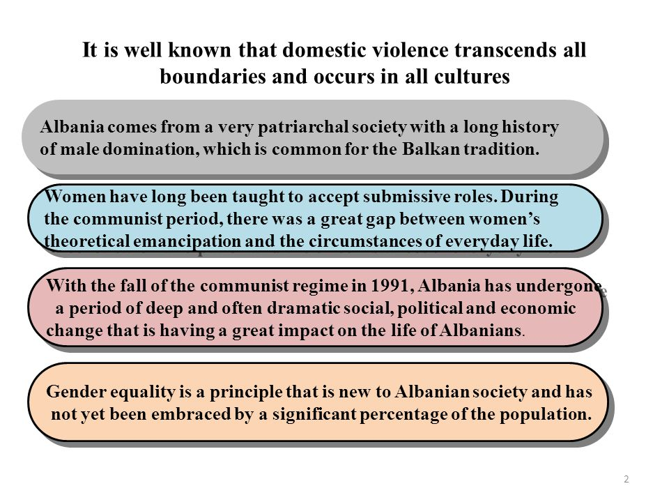 It is well known that domestic violence transcends all boundaries and occurs in all cultures Albania comes from a very patriarchal society with a long history of male domination, which is common for the Balkan tradition.