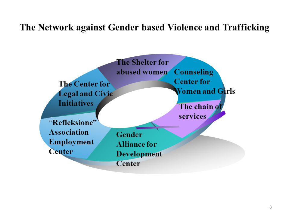 The Network against Gender based Violence and Trafficking Counseling Center for Women and Girls The Shelter for abused women The Center for Legal and Civic Initiatives Refleksione Association Employment Center Gender Alliance for Development Center The chain of services 8