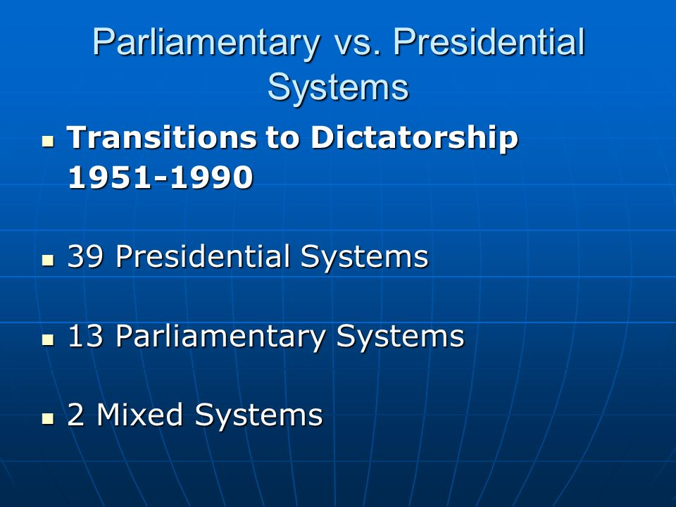 Parliamentary vs. Presidential Systems Transitions to Dictatorship Transitions to Dictatorship1951-1990 39 Presidential Systems 39 Presidential System