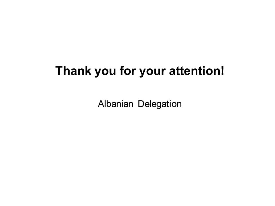 Thank you for your attention! Albanian Delegation
