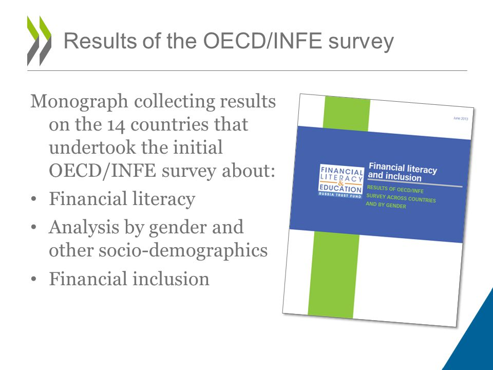 Monograph collecting results on the 14 countries that undertook the initial OECD/INFE survey about: Financial literacy Analysis by gender and other socio-demographics Financial inclusion Results of the OECD/INFE survey