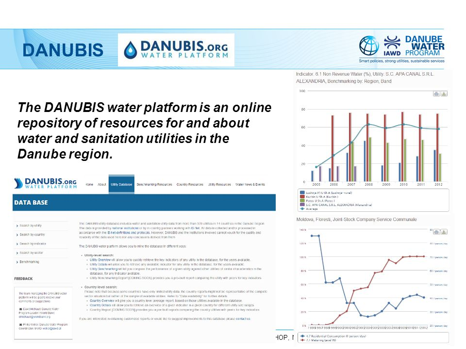UTILITY BENCHMARKING IN THE DANUBE, DWP PRESENTATION TO EBC WORKSHOP, NOVEMBER 2014 The DANUBIS water platform is an online repository of resources fo