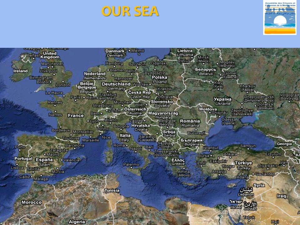 MEDITERRANEAN SEA  An area of  approximately 2.5 million km².