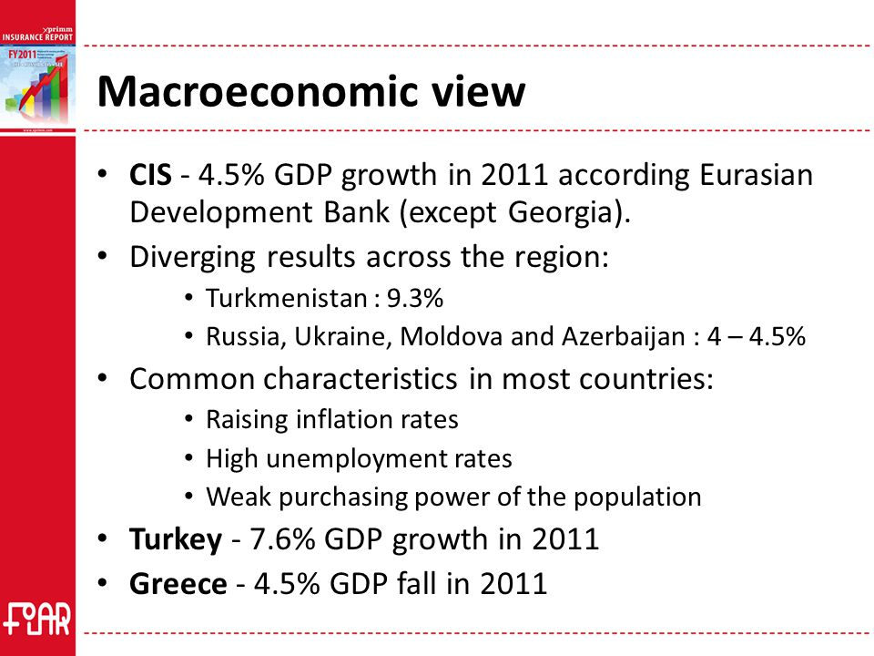 Macroeconomic view CIS - 4.5% GDP growth in 2011 according Eurasian Development Bank (except Georgia).