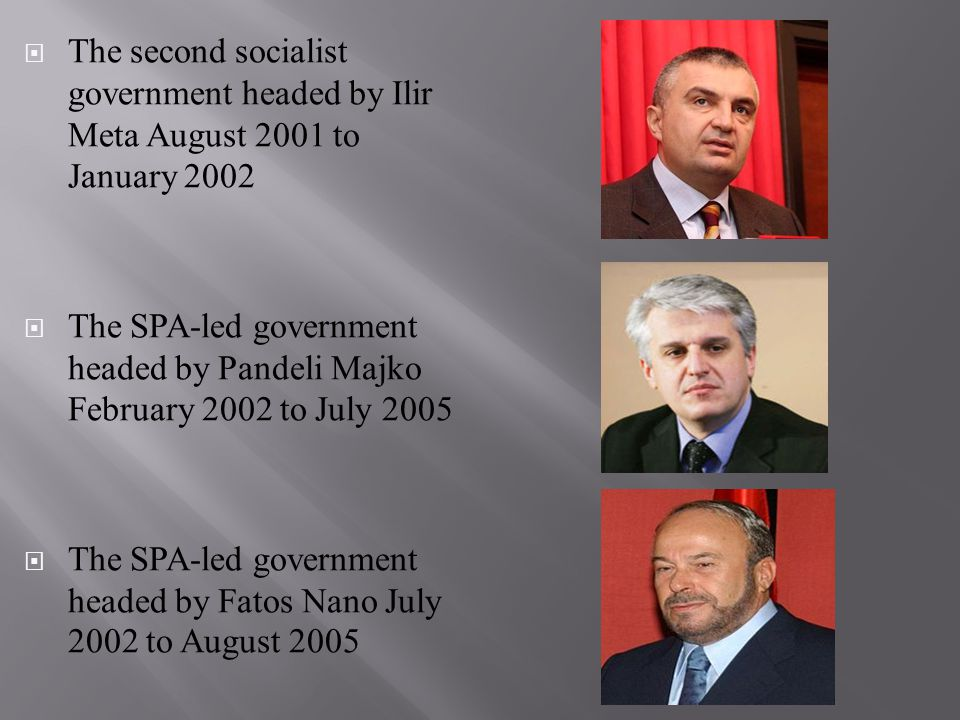  The second socialist government headed by Ilir Meta August 2001 to January 2002  The SPA-led government headed by Pandeli Majko February 2002 to Ju