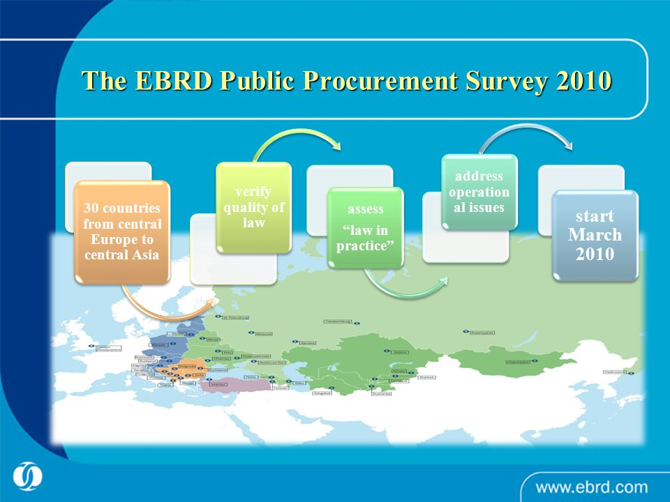 The EBRD Public Procurement Survey 2010 30 countries from central Europe to central Asia verify quality of law assess law in practice address operation al issues start March 2010