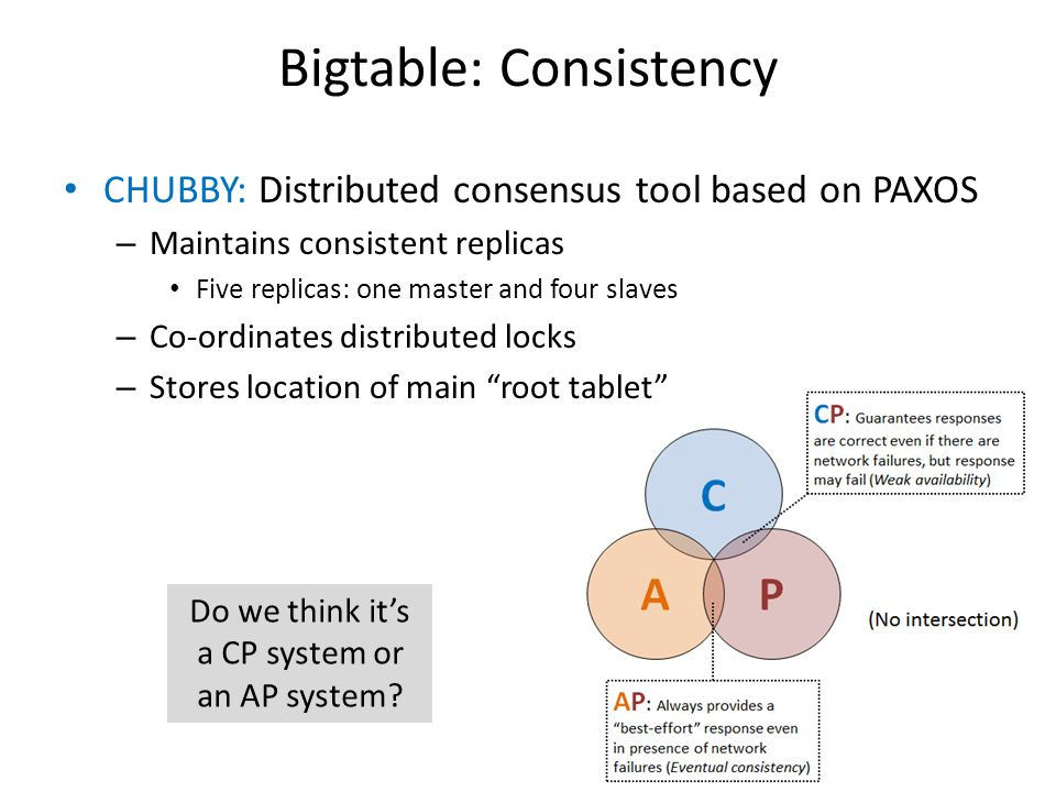 Bigtable: Consistency CHUBBY: Distributed consensus tool based on PAXOS – Maintains consistent replicas Five replicas: one master and four slaves – Co-ordinates distributed locks – Stores location of main root tablet Do we think it's a CP system or an AP system