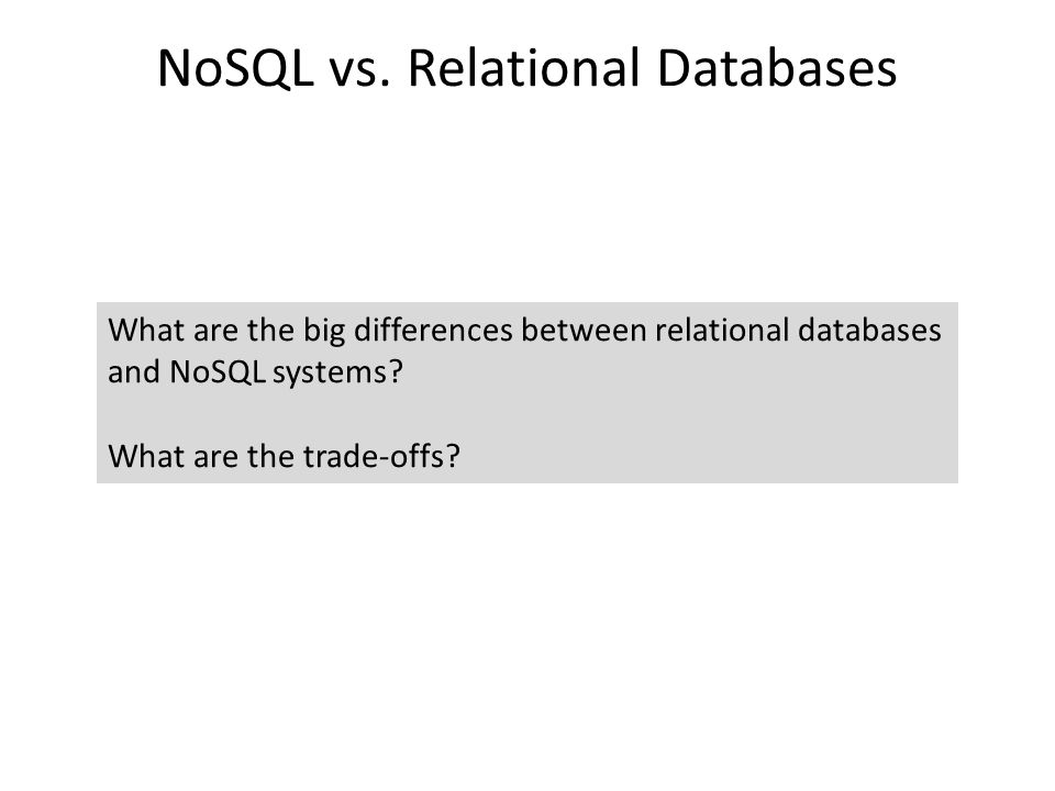 The Database Landscape Using the relational model Relational Databases with focus on scalability to compete with NoSQL while maintaining ACID Batch analysis of data Not using the relational model Real-time Stores documents (semi-structured values) Not only SQL Maps Column Oriented Graph-structured data In-Memory Cloud storage