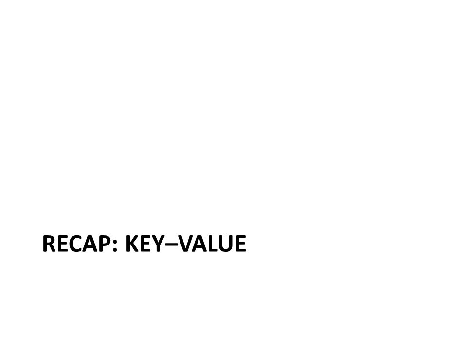Key–Value = a Distributed Map KeyValue country:Afghanistancapital@city:Kabul,continent:Asia,pop:31108077#2011 country:Albaniacapital@city:Tirana,continent:Europe,pop:3011405#2013 …… city:Kabulcountry:Afghanistan,pop:3476000#2013 city:Tiranacountry:Albania,pop:3011405#2013 …… user:10239basedIn@city:Tirana,post:{103,10430,201} ……