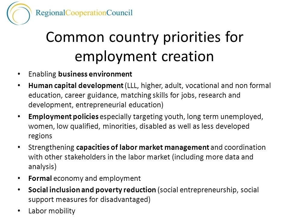 Common country priorities for employment creation Enabling business environment Human capital development (LLL, higher, adult, vocational and non formal education, career guidance, matching skills for jobs, research and development, entrepreneurial education) Employment policies especially targeting youth, long term unemployed, women, low qualified, minorities, disabled as well as less developed regions Strengthening capacities of labor market management and coordination with other stakeholders in the labor market (including more data and analysis) Formal economy and employment Social inclusion and poverty reduction (social entrepreneurship, social support measures for disadvantaged) Labor mobility