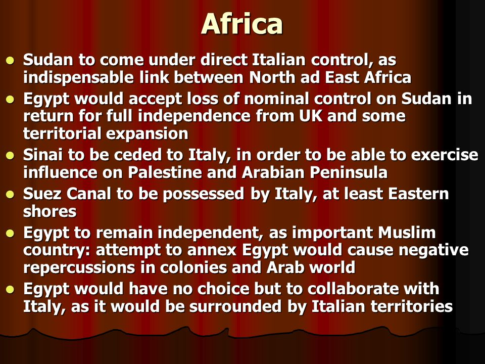 Plans for Post-war Middle East War soon to be won War soon to be won Focus not on military plans to secure victory, but on geo-political plans for post-war period Focus not on military plans to secure victory, but on geo-political plans for post-war period Huge African Empire and wide zone of influence in Middle East Huge African Empire and wide zone of influence in Middle East