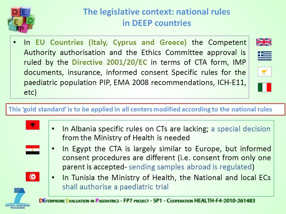 In EU Countries (Italy, Cyprus and Greece) the Competent Authority authorisation and the Ethics Committee approval is ruled by the Directive 2001/20/EC in terms of CTA form, IMP documents, insurance, informed consent Specific rules for the paediatric population PIP, EMA 2008 recommendations, ICH-E11, etc) In Albania specific rules on CTs are lacking; a special decision from the Ministry of Health is needed In Egypt the CTA is largely similar to Europe, but informed consent procedures are different (i.e.