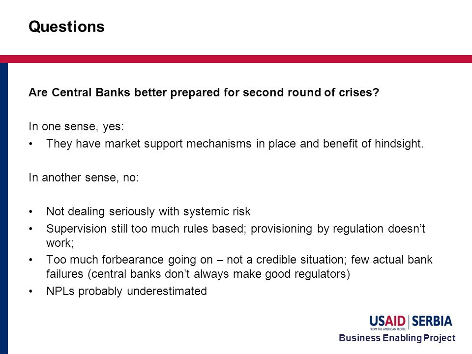 Business Enabling Project Are Central Banks better prepared for second round of crises.