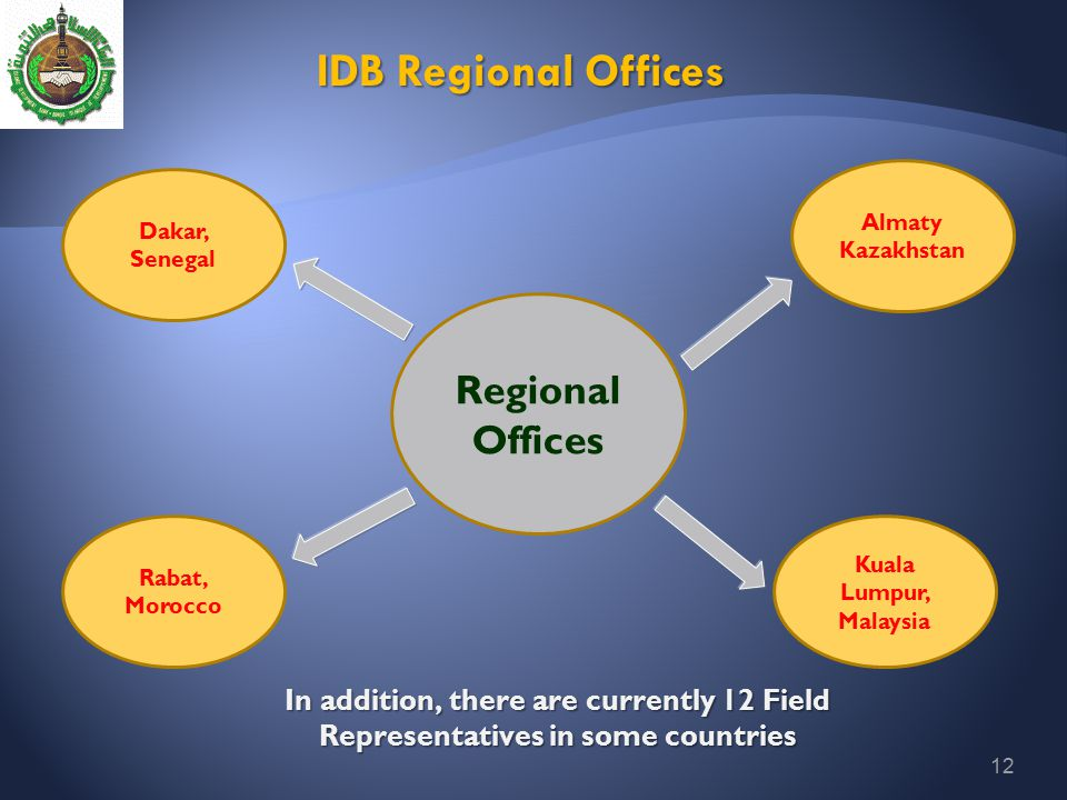 12 IDB Regional Offices In addition, there are currently 12 Field Representatives in some countries Regional Offices Almaty Kazakhstan Kuala Lumpur, M