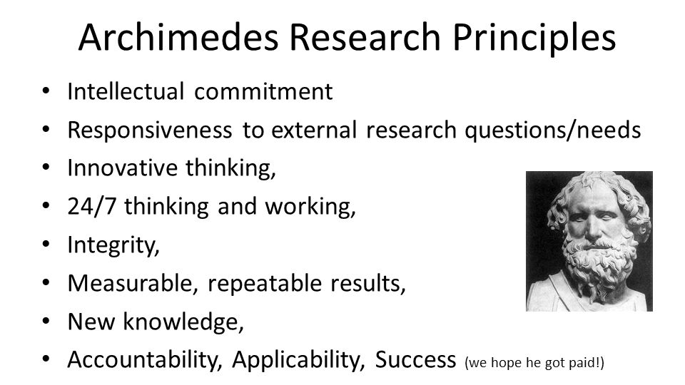 Archimedes Research Principles Intellectual commitment Responsiveness to external research questions/needs Innovative thinking, 24/7 thinking and work