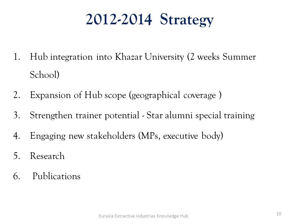 2012-2014 Strategy 1.Hub integration into Khazar University (2 weeks Summer School) 2.Expansion of Hub scope (geographical coverage ) 3.Strengthen tra