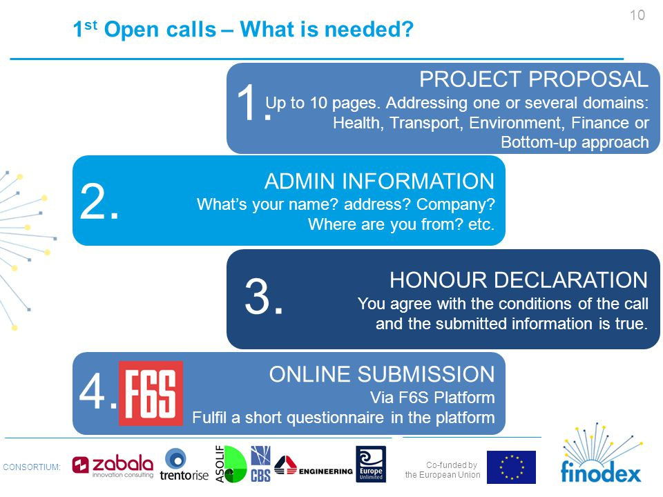 Co-funded by the European Union CONSORTIUM: 1 st Open calls – What is needed.