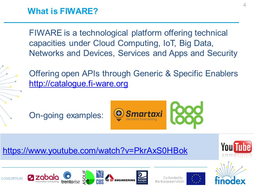 Co-funded by the European Union CONSORTIUM: https://www.youtube.com/watch v=PkrAxS0HBok What is FIWARE.
