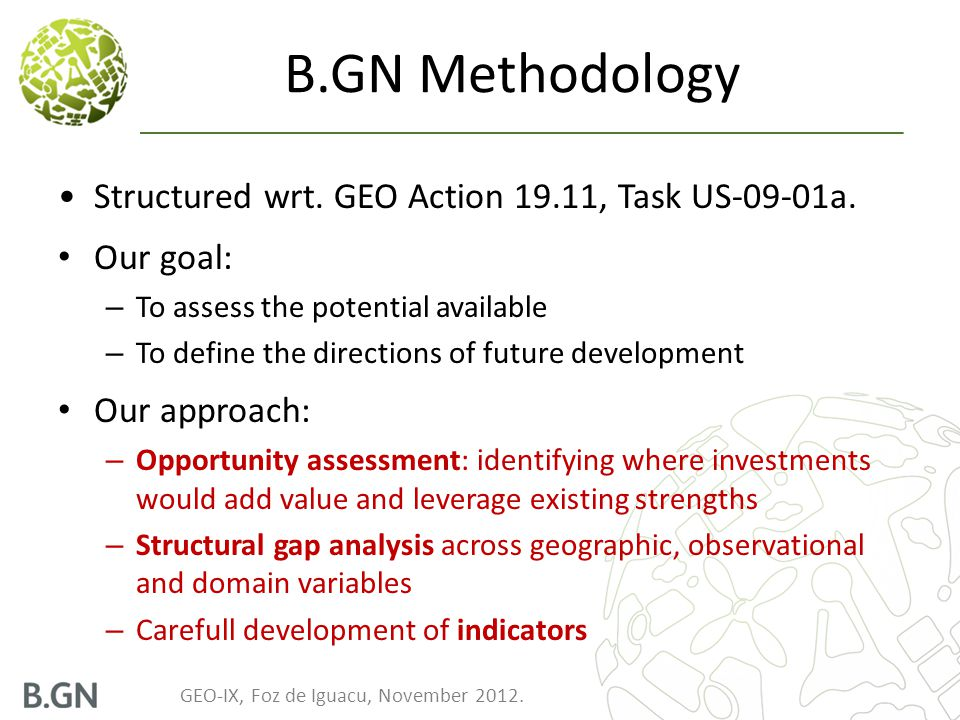 GEO-IX, Foz de Iguacu, November 2012.B.GN Methodology Structured wrt.