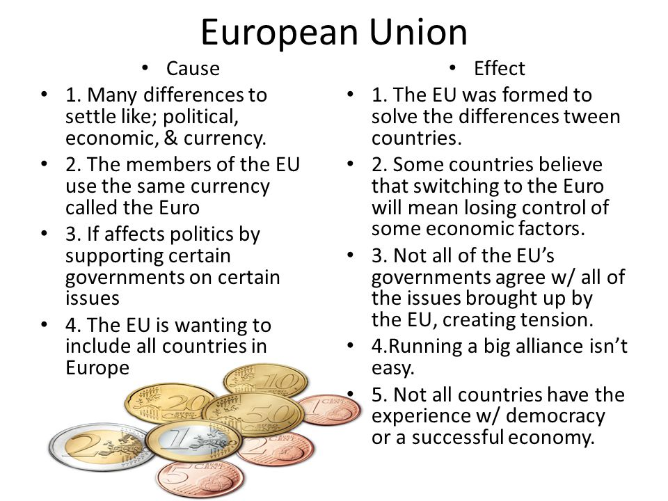 European Union Cause 1. Many differences to settle like; political, economic, & currency. 2. The members of the EU use the same currency called the Eu