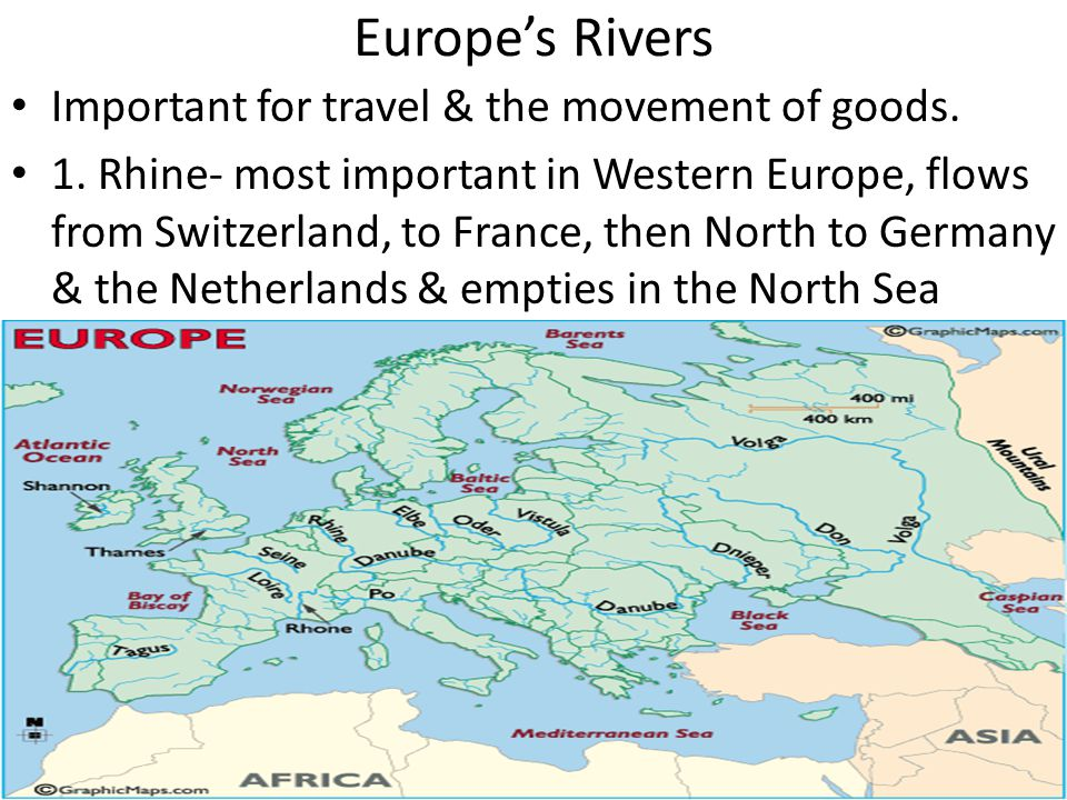 Europe's Rivers Important for travel & the movement of goods. 1. Rhine- most important in Western Europe, flows from Switzerland, to France, then Nort