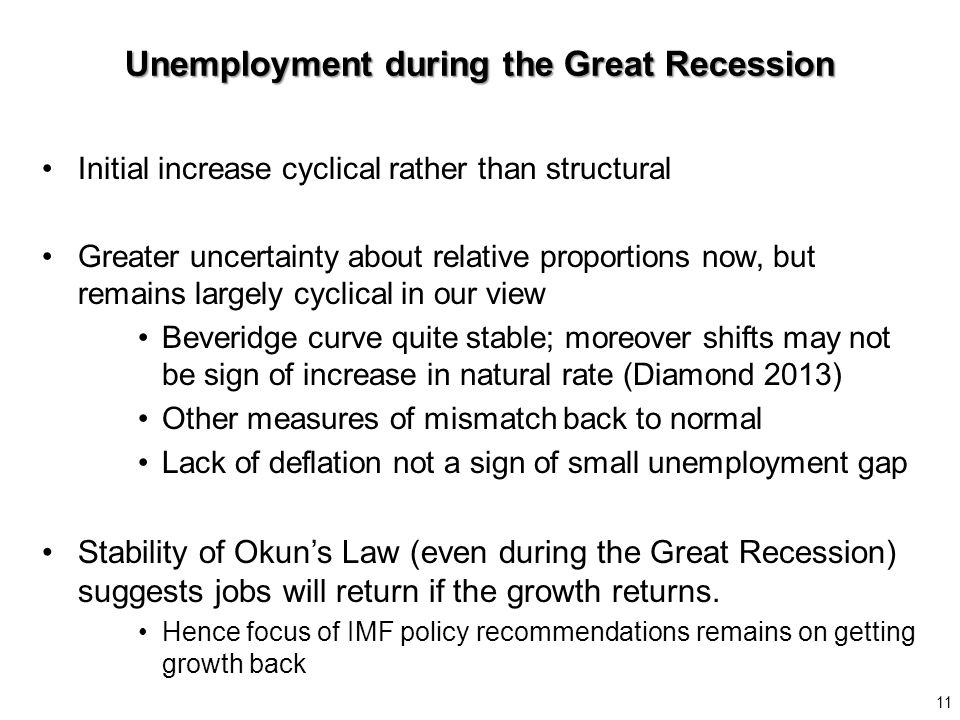 Initial increase cyclical rather than structural Greater uncertainty about relative proportions now, but remains largely cyclical in our view Beveridge curve quite stable; moreover shifts may not be sign of increase in natural rate (Diamond 2013) Other measures of mismatch back to normal Lack of deflation not a sign of small unemployment gap Stability of Okun's Law (even during the Great Recession) suggests jobs will return if the growth returns.
