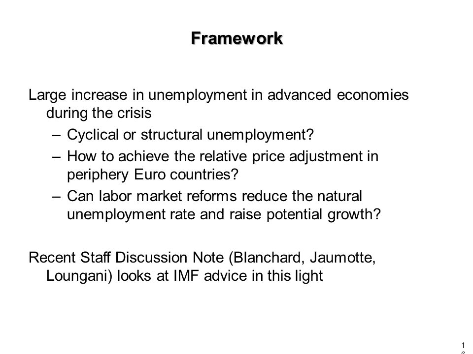 Framework Large increase in unemployment in advanced economies during the crisis –Cyclical or structural unemployment? –How to achieve the relative pr