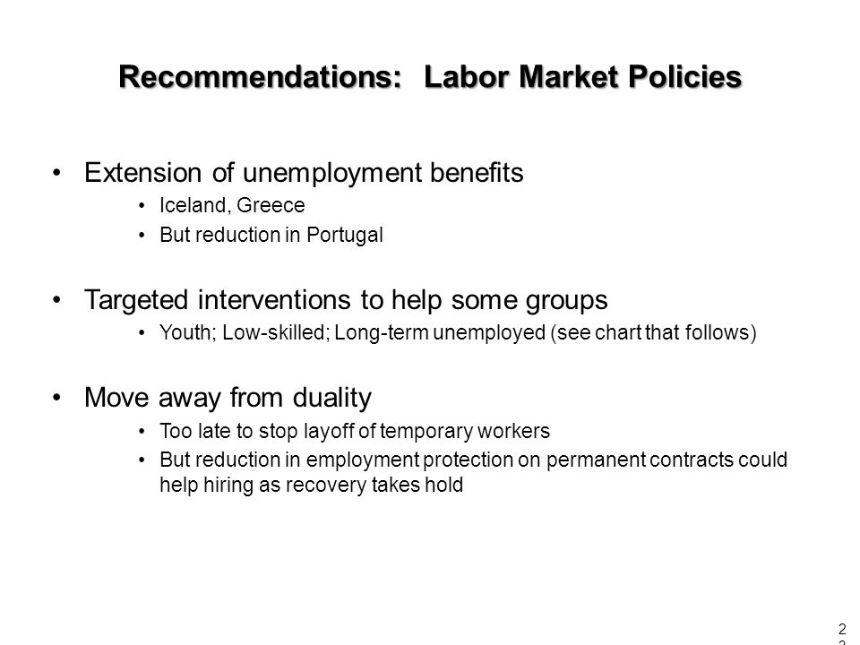 Extension of unemployment benefits Iceland, Greece But reduction in Portugal Targeted interventions to help some groups Youth; Low-skilled; Long-term unemployed (see chart that follows) Move away from duality Too late to stop layoff of temporary workers But reduction in employment protection on permanent contracts could help hiring as recovery takes hold Recommendations: Labor Market Policies 23