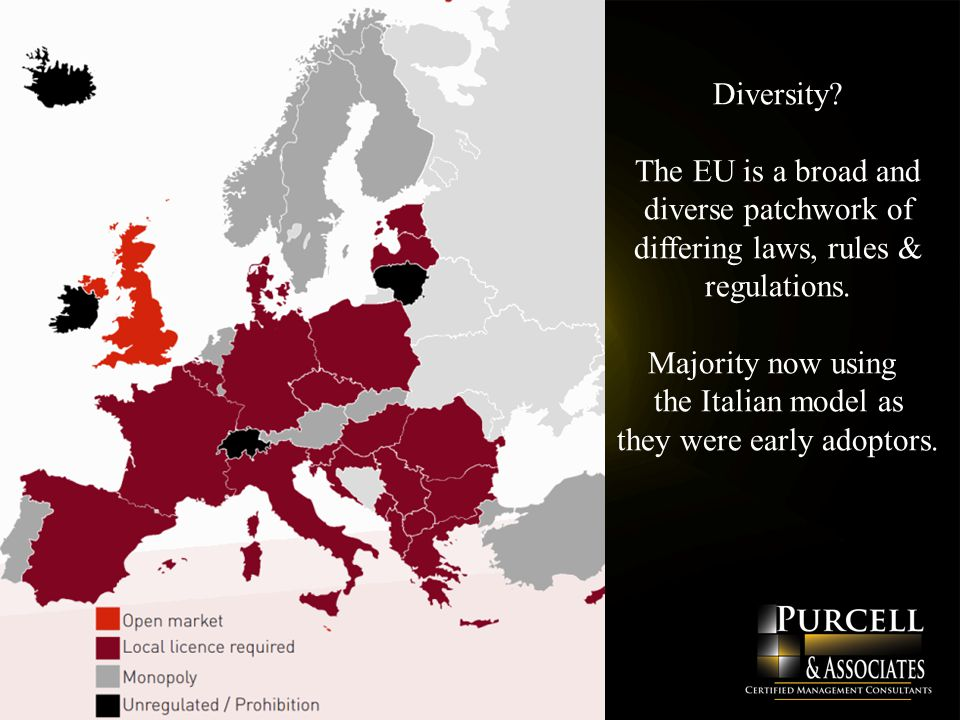 Diversity. The EU is a broad and diverse patchwork of differing laws, rules & regulations.