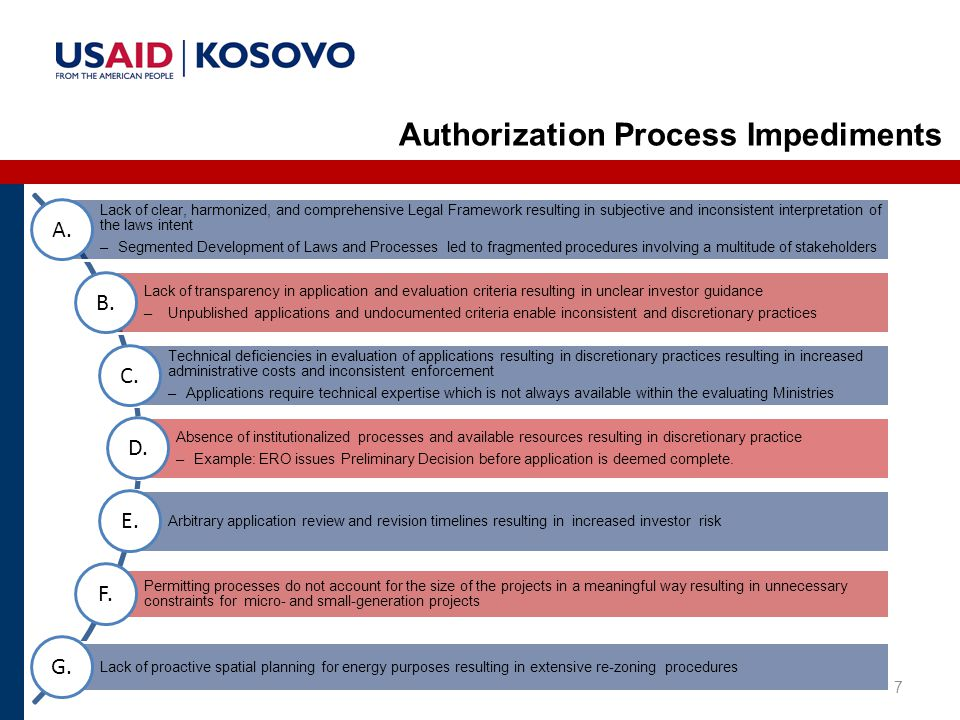 7 Authorization Process Impediments Lack of clear, harmonized, and comprehensive Legal Framework resulting in subjective and inconsistent interpretation of the laws intent –Segmented Development of Laws and Processes led to fragmented procedures involving a multitude of stakeholders A.