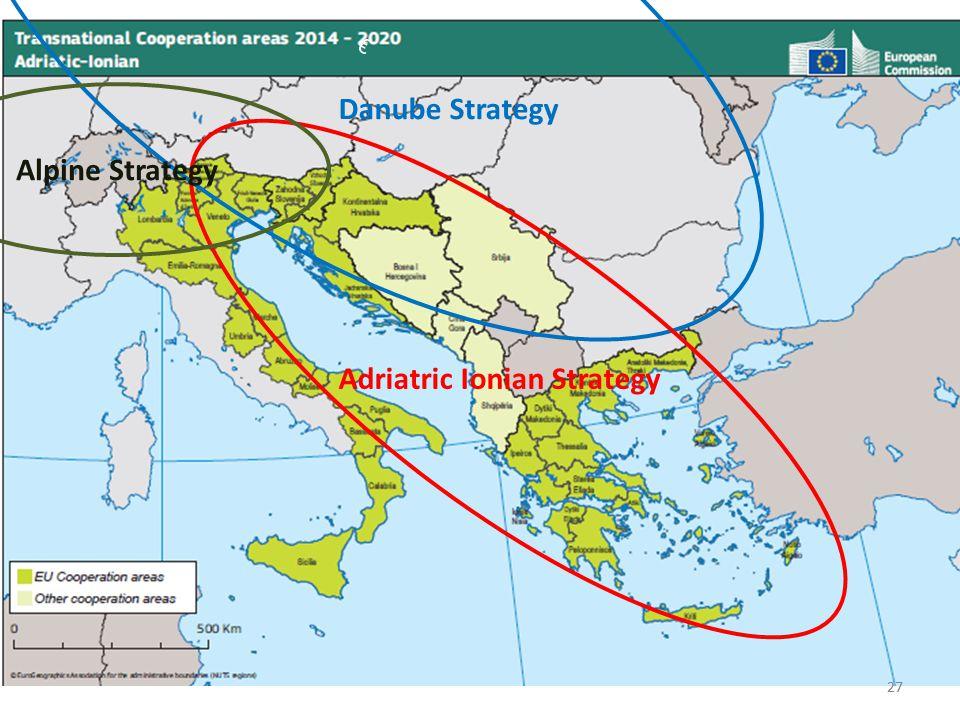 27 € Adriatric Ionian Strategy Alpine Strategy Danube Strategy