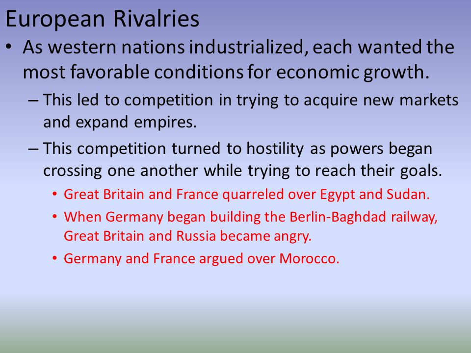 European Rivalries As western nations industrialized, each wanted the most favorable conditions for economic growth.