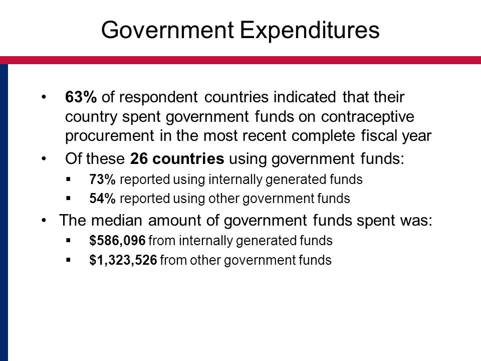 Government Expenditures 63% of respondent countries indicated that their country spent government funds on contraceptive procurement in the most recen